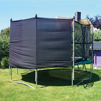 Clips applied for sun protection on Children's Trampoline